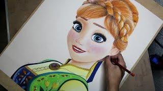 getlinkyoutube.com-Speed Drawing: Anna (Frozen Fever) | Diana Díaz