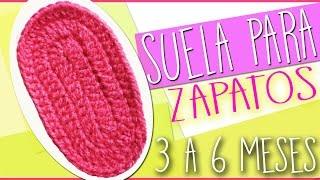 getlinkyoutube.com-Suela Para Zapatos - Tejidos a Crochet Para Bebe de 3 a 6 Meses