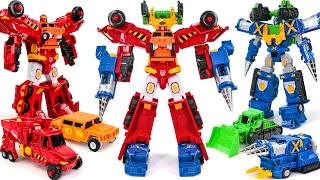 getlinkyoutube.com-Carbot Construction Dump Truck Bulldozer 4 Vehicle 2 in 4 Combine Transformers Robot Car Toys