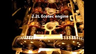 A detailed look at one cycle of valve, piston, cam and crank timing in a GM Ecotec engine