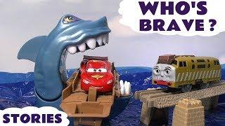 getlinkyoutube.com-Cars Hot Wheels Who's Scared Shark Attack Race Pocoyo Thomas & Friend Play Doh Halloween Toy Story