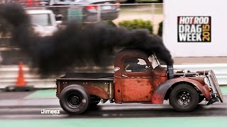 getlinkyoutube.com-ROLLING COAL RAT ROD! TURBO CUMMINS DIESEL! 11SEC! '15 HOT ROD DRAG WEEK!