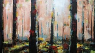 getlinkyoutube.com-How to paint: Abstract Acrylic Landscape | Misty Forest Painting Lesson By Samuel Durkin