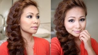getlinkyoutube.com-Hair Tutorial: Big Side Loose Braid for Graduation