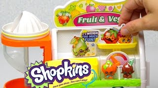 getlinkyoutube.com-Shopkins Juicer Easy Squeezy Fruit & Veg Stand Playset Toy Unboxing Opening Review - Kids Toys