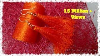 getlinkyoutube.com-How to make Silk Thread Tassel Earrings at Home !!