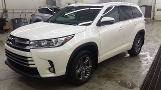 getlinkyoutube.com-2017 Toyota Highlander Limited AWD in Blizzard pearl with the Brown interior review of features