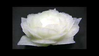 getlinkyoutube.com-だいこんの飾り切り 白バラの作り方 野菜でカービング Vegetables carving Japanese white radish Garnish
