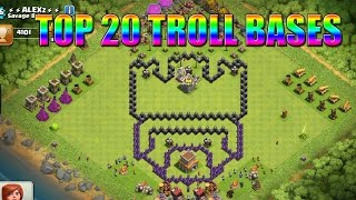 getlinkyoutube.com-Top 20 Funny/Troll CoC - Clash Of Clans Comedy/Funny Base Design Compilation!