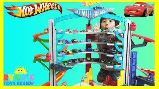 getlinkyoutube.com-BIGGEST HOT WHEELS ULTIMATE GARAGE PLAYSET Shark Attack Disney Cars Toys McQueen kids Toys Review