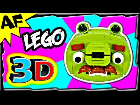 3D Lego Angry Birds MOUSTACHE PIG Animated Review with Building Instructions
