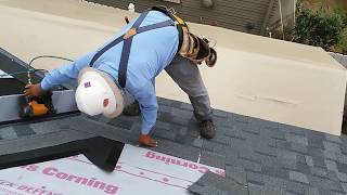 getlinkyoutube.com-How to video : Installing new roofing shingles on a steep roof , new plywood, good video!!
