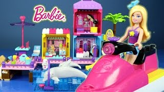 getlinkyoutube.com-Mega Bloks Build n Play Set Barbie Pet Beach Boardwalk Building Set Build Review