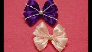 getlinkyoutube.com-Diy Ribbon hair bows with pearls,hair bow tutorial,how to make