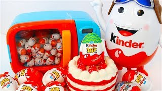 getlinkyoutube.com-DIY! Learn Colors Microwave Surprise Eggs Toys Finding Dory Play Doh Kinetic Sand