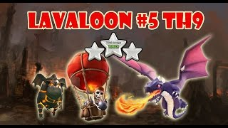 getlinkyoutube.com-LavaLoon #5: Attack TH9 with Lava Hound Balloon Dragon | 3 Star War Strategy
