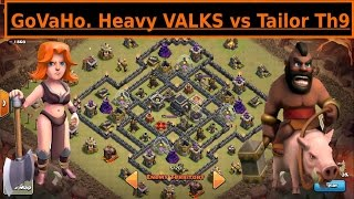 getlinkyoutube.com-Mass VALKS GoVaHo vs POPULAR TH9 Tailor Base. New Attacker. Clash of Clans