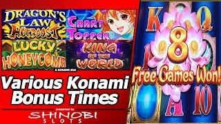 getlinkyoutube.com-Various Konami Slot Bonuses - Chart Topper, Dragon's Law HotBoost, King of the World, and More...