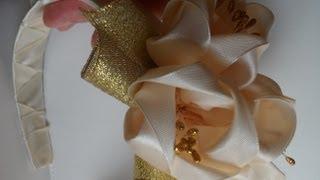 getlinkyoutube.com-Как сделать свадебный ободок для волос канзаши