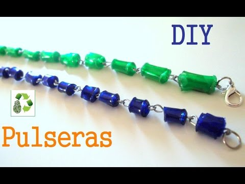 59.RECICLAJE DE BOTELLAS DE PLASTICO (CUENTAS DE PLSTICO-PULSERA) -DIY PLASTIC BRACELET