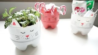 getlinkyoutube.com-How to make a recycled soda bottle kitty planter/organizer