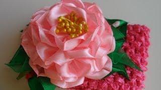 getlinkyoutube.com-hand made : Пион повязка Канзаши / D.I.Y. Peony Headband kanzashi