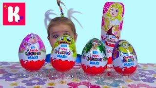 getlinkyoutube.com-Хелоу Китти и другие Киндер сюрприз Макси распаковка игрушек Kinder Surprise Maxi Minions toys