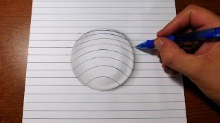 getlinkyoutube.com-How to Draw 3D Art - Easy Line Paper Trick