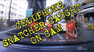 Cellphone Snatcher caught on Dashcam
