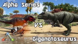 getlinkyoutube.com-ARK: Survival Evolved - AlphaRex, Carno, Raptor vs Giganotosaurus - Dino Battle
