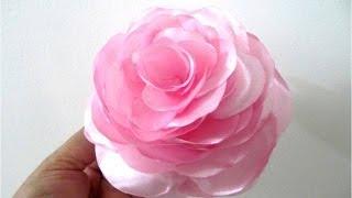 getlinkyoutube.com-Moños en telas para el cabello  flores begonias paso a paso