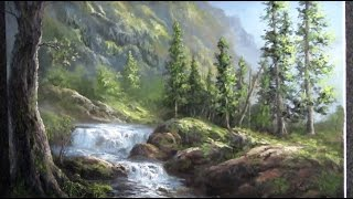 getlinkyoutube.com-Oil Painting Waterfall Landscape - Paint with Kevin Hill