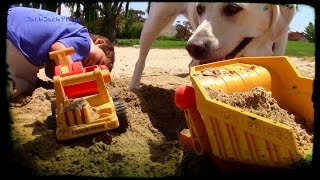 getlinkyoutube.com-Toy Truck Videos for kids- fisher price classic trucks and dog digging in the sand