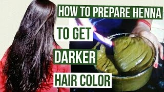 getlinkyoutube.com-How to prepare henna to get darker hair color | Henna Pack for Deep Brown Hair Color