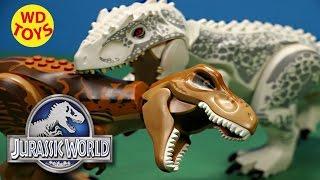 getlinkyoutube.com-Jurassic World Lego T-Rex vs Lego Indominus Rex Dino Battles, Dinosaurs By WD Toys