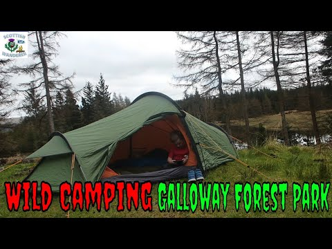 WILD CAMPING IN THE WOODS GALLOWAY FORREST SCOTLAND BUSHCRAFT CAMPFIRE COOKING ANGUS BURGERS