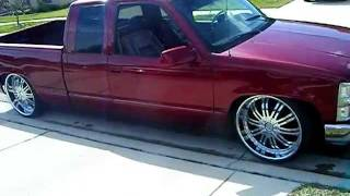 "getlinkyoutube.com-Lowered Chevy Silverado on 24""s Candy Brandy Wine bagged on 24's"