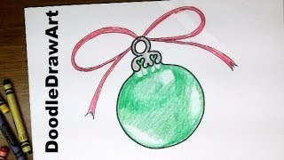 getlinkyoutube.com-Drawing: How To Draw a Christmas Tree Ornament - Easy Drawing Lesson for Beginners or Kids