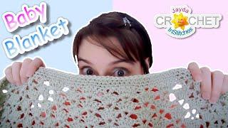 getlinkyoutube.com-Crochet Baby Blanket - Easy Fan Stitch Pattern