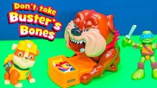getlinkyoutube.com-DONT TAKE BUSTERS BONES Game Paw Patrol + Teenage Mutant Ninja Turtles Game Toys Video Unboxing