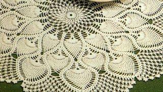 getlinkyoutube.com-Patrón para tejer tapete/carpeta motivos piñas a crochet