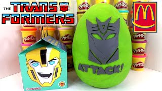 getlinkyoutube.com-GIANT TRANSFORMERS ROBOTS IN DISGUISE PLAY DOH SURPRISE EGG MCDONALDS HAPPY MEAL TOYS HUEVO SORPRESA