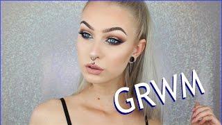 getlinkyoutube.com-GRWM Drugstore Makeup & Hair - Blue Eyeliner | Evelina Forsell