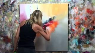 """getlinkyoutube.com-Démonstration de peinture abstraite (7) Elisabeth - Toile """"Vibration"""""""