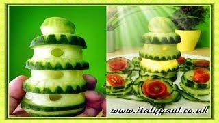 getlinkyoutube.com-Art In Cucumber Show - Vegetable Carving Tower Garnish