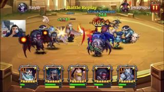 getlinkyoutube.com-Heroes Charge - Griffin 5 stars o2 & lightning elemental legend in arena - Northern Dragon portal 6