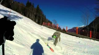 getlinkyoutube.com-GoPro Hero 3+ Silver Edition Skiing at the mountains