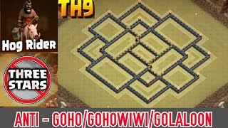 "getlinkyoutube.com-Town Hall 9 ""New"" (War Base/Trophy 2015) Anti GoHo, GoHoWiWi 