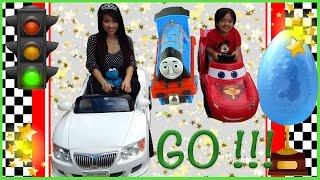 getlinkyoutube.com-Disney Cars Lightning McQueen POWER WHEELS CAR RACE Cookie Monster Kids Video egg surprise toys