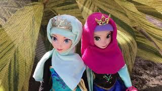 Frozen Muslim Anna Elsa Barbie Dolls Hijab Custom DIY width=